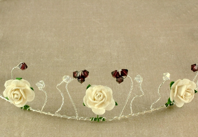 Rustic ivory rose wedding circlet, headband on silver wire with burgundy Swarovski crystals