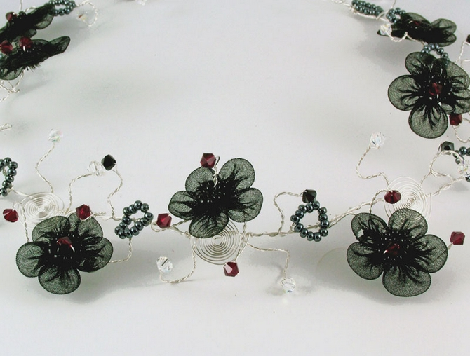 Goth wedding hair vine with black organza flowers with black and Sian red Swarovski crystals