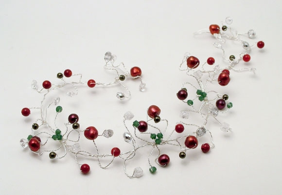 Winter wedding hair vine with red pearls, green Swarovski crystals and Rock Crystal.