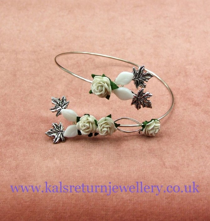 Bridesmaid arm cuff with ivory roses on silver wire