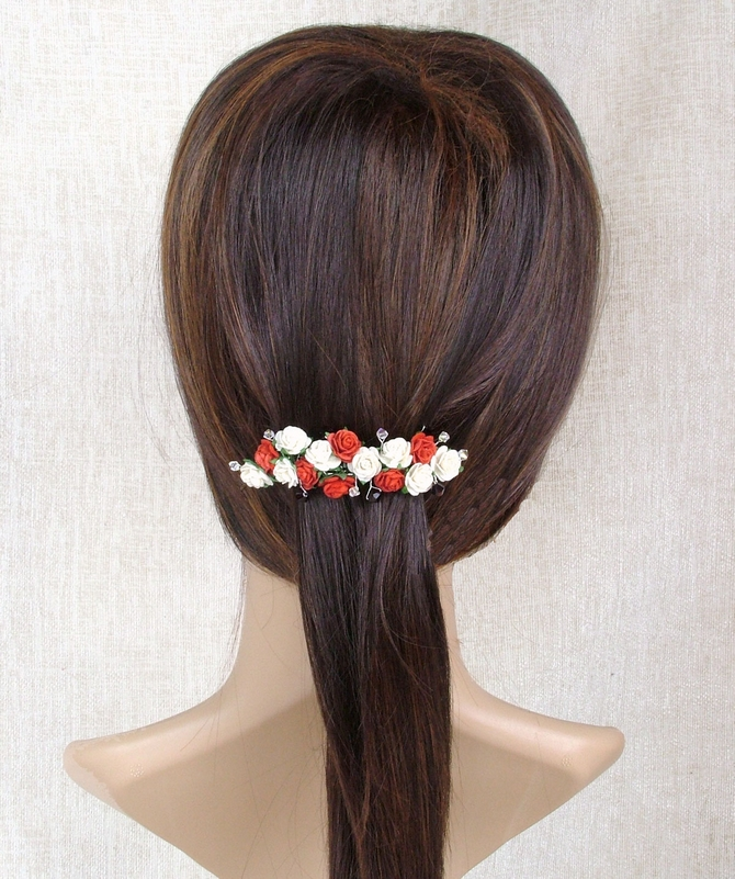 Red and ivory rose wedding / prom hair barrette with garnet crystals