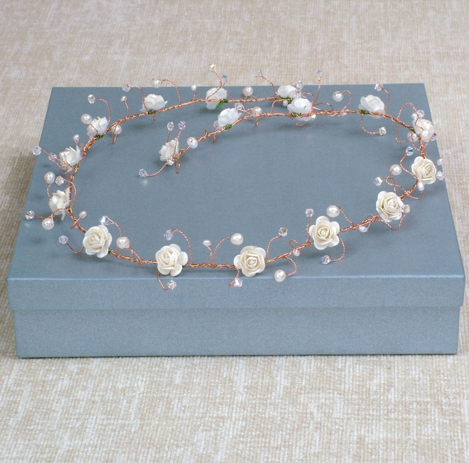 Long ivory rose hair vine on gold wire with freshwater pearls
