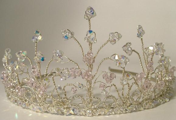 Silver tiara with sparkly Swarovski crystals