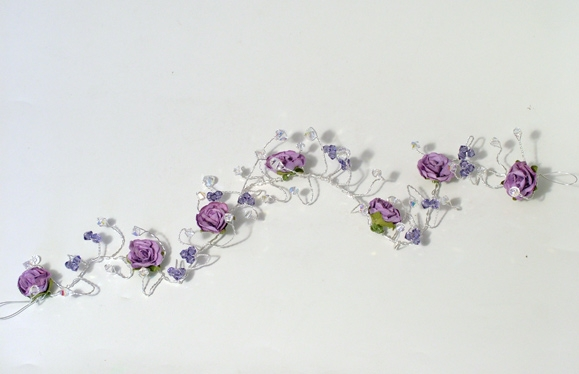 Hair vine with clusters of lilac / purple crystals