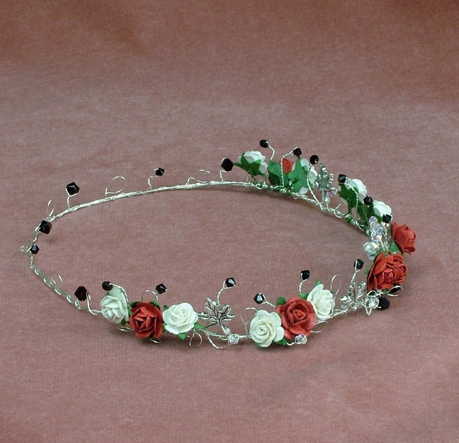 Red and Ivory rose circlet with garnet Swarovski crystals