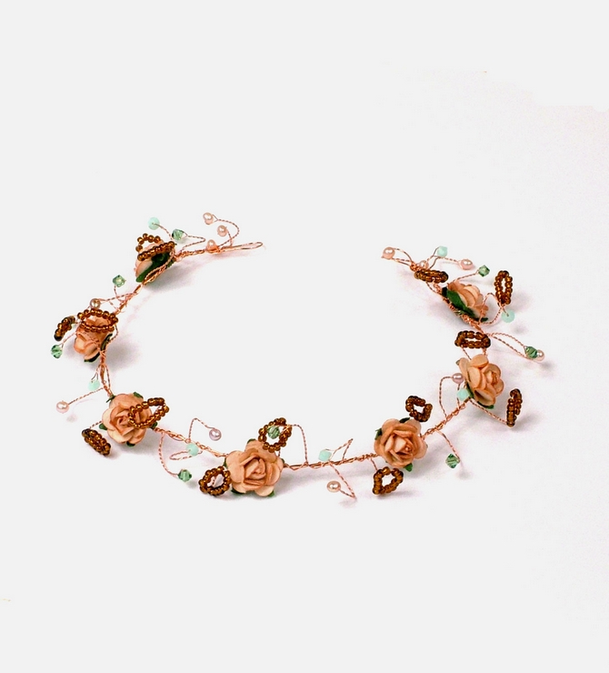 Gold Peach rose bridal hair vine with Swarovski Mint Albaster crystals