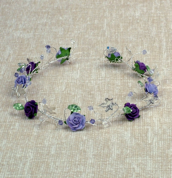 Lilac and purple rose hair vine on silver wire