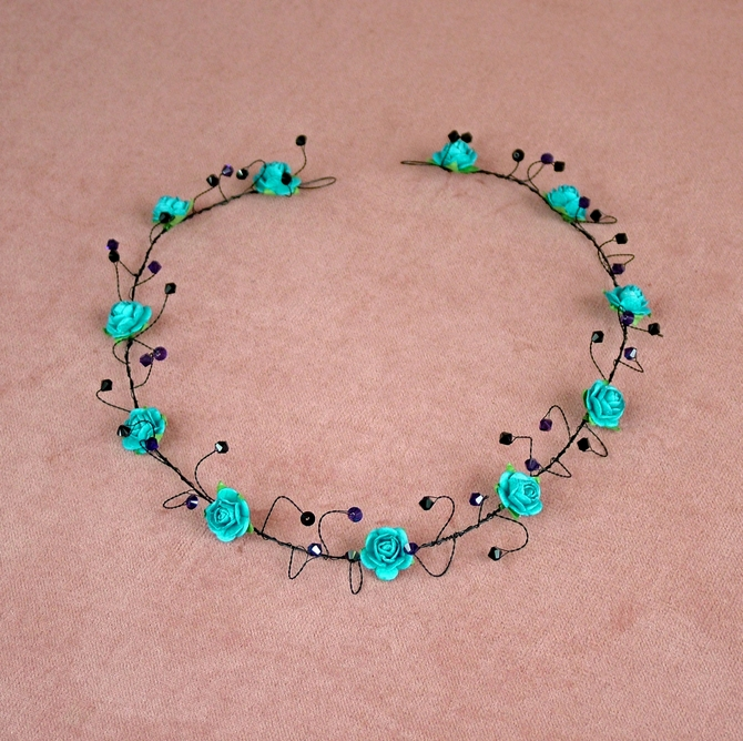 Turquoise rose hair vine on black wire with purple and black Swarovski crystals
