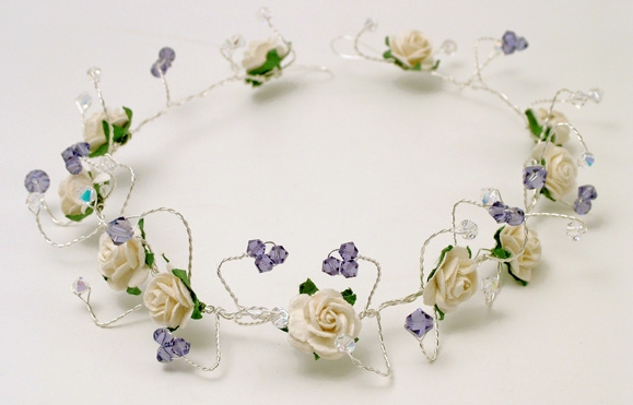 White rose and tanzanite Swarovski crystal hair vine