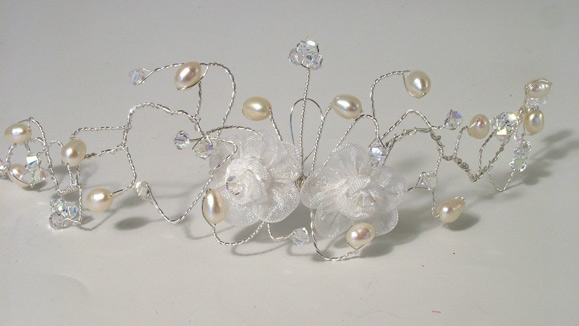 White organza flower bridal hair vine with freshwater pearls and sparkly Swarovski crystals