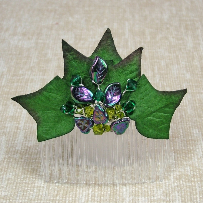 Ivy leaf Comb with emerald and fern green Swarovski crystals