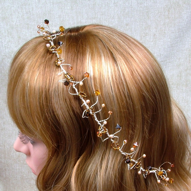 Ivory rose hair vine with topaz and mocha Swarovski crystals on silver wire