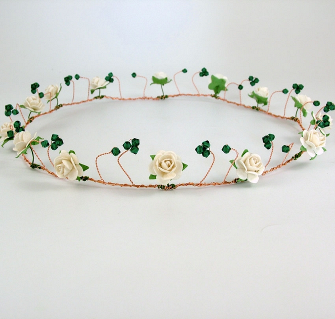 Wedding hair circlet with emerald green Swarovski crystals