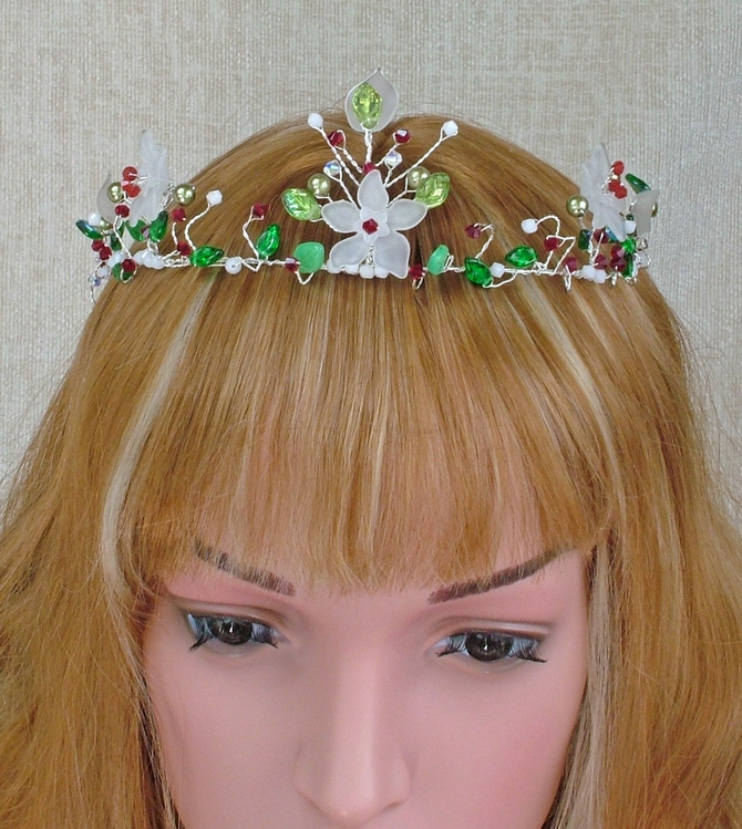 White flower tiara with red Swarovski crystals and green leaves