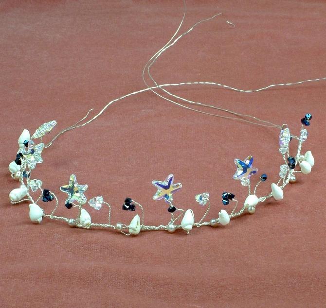 Beach themed hair vine with Swarovski starfish and metalic blue Swarovski crystals