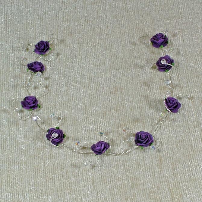 Purple rose hair vine with sparkly Swarovski crystals