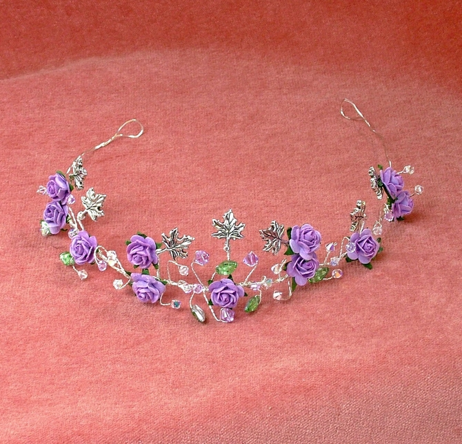 Lilac rose and silver leaf tiara