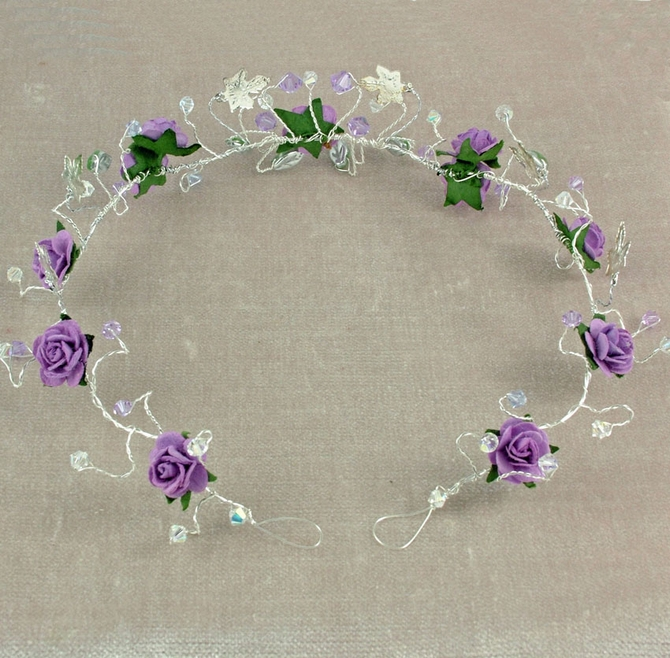 Lilac rose tiara, headband
