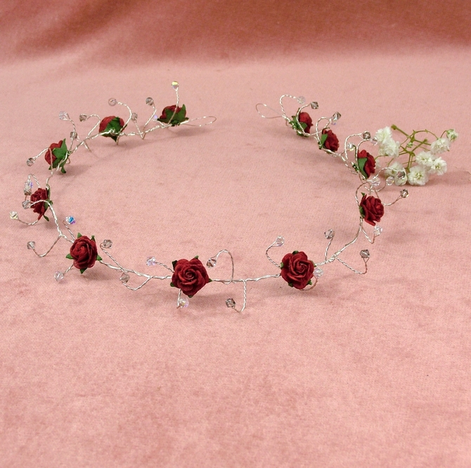 Red rose bridal hair vine with light grey Swarovski crystals