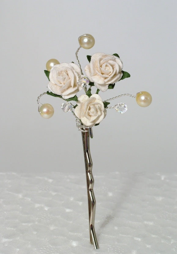 Bridal or Prom silver hair grip with ivory Roses and freshwater pearls