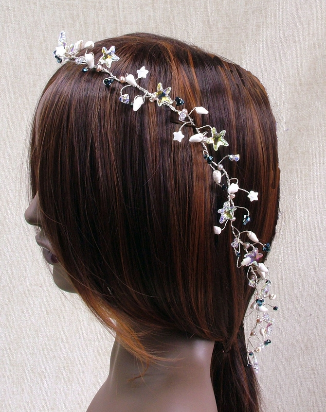 Long Beach wedding hair vine with ivory sea shells, Swarovski starfish beads plus metallic blue crystals
