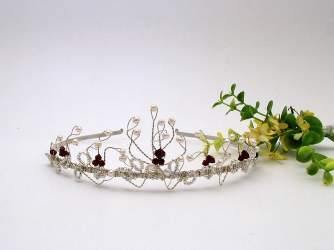 Silver or gold wedding tiara made with freshwater pearls, semi precious beads and Swarovski crystals