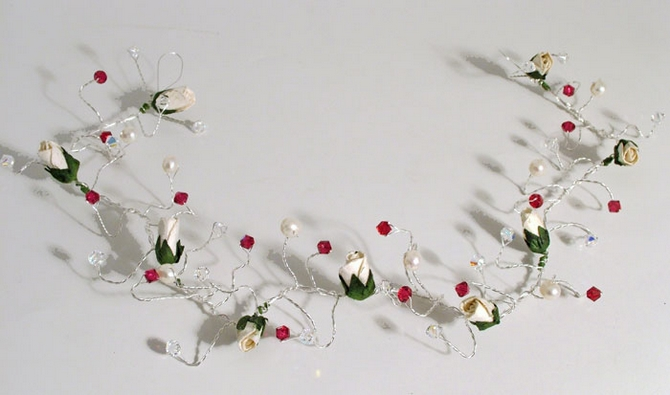 Christmas, winter wedding flower bud hair vine with Sian red Crystals