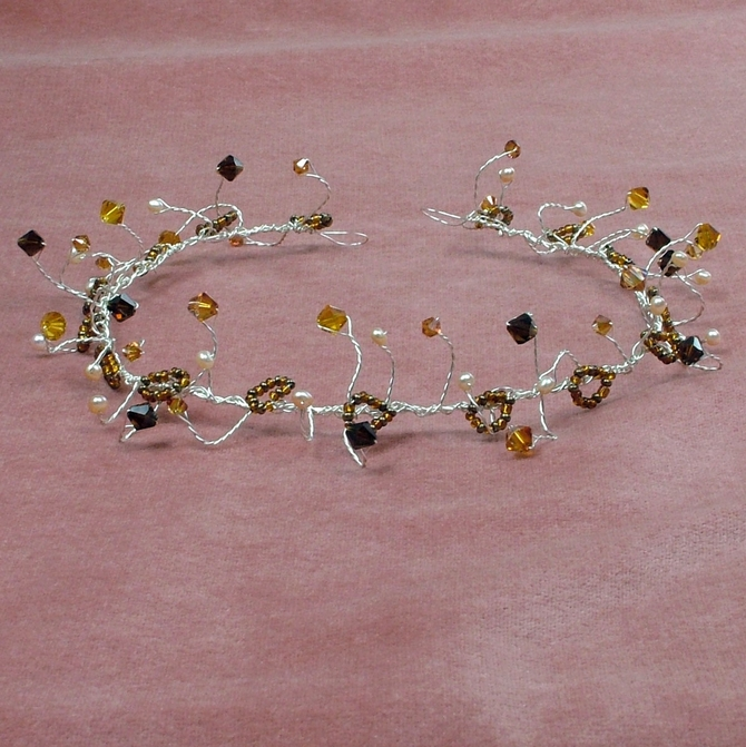 Freshwater pearl hair vine with mocha, copper and topaz Swarovski crystals