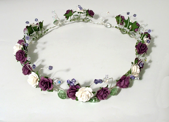 Bride's Rustic or Woodland Wedding circlet, headband with ivory and purple roses plus clusters of tanzanite and sparkly Swarovski crystals