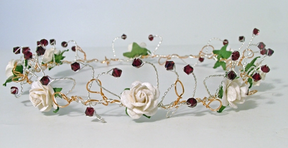 Ivory rose and garnet crystal headband