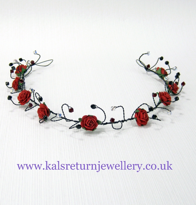 Handmade Goth style wedding or prom hair vine with red flowers on black wire