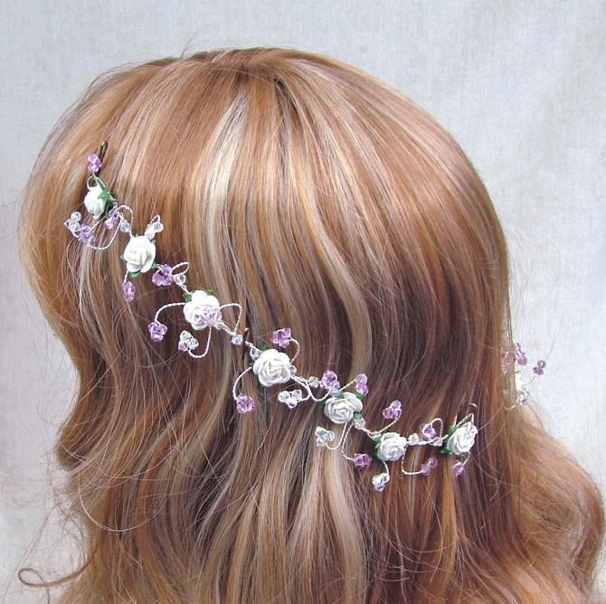 Back of head bridal hair vines with lilac sawrovski crystals and ivory roses
