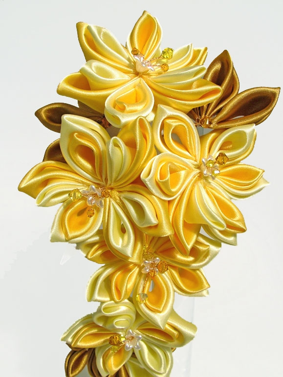 Bride's Cascading Kanzashi Flower wedding bouquet in yellows and bronze.