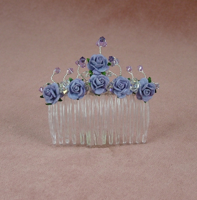 Lilac rose hair comb