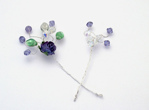 Handmade bridal or prom hair pins in matching colours
