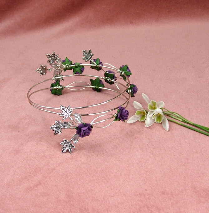 Silver arm bracelet with purple roses and Maple leaves