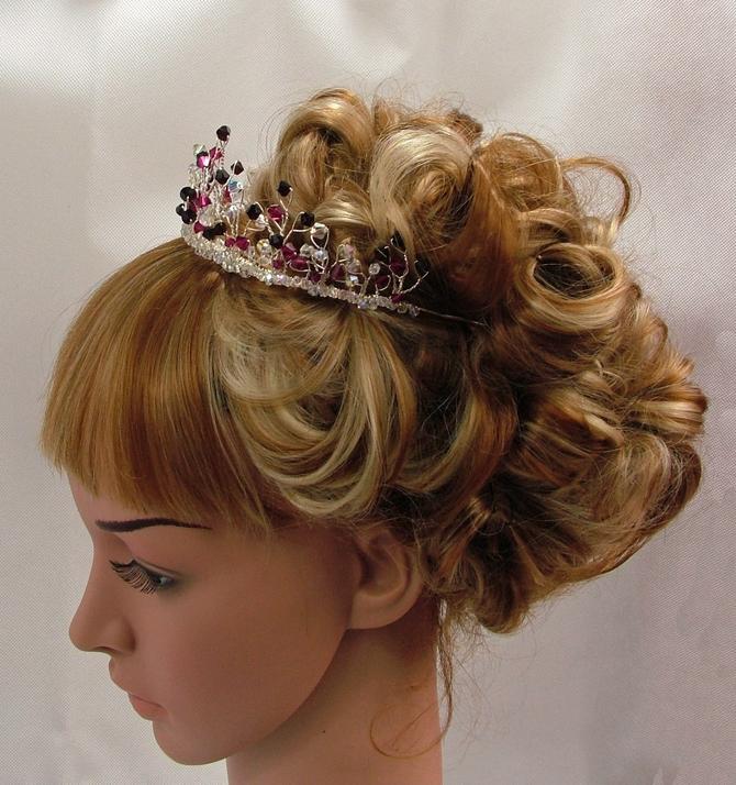 Garnet and Ruby red Swarovski crystal bridal tiara
