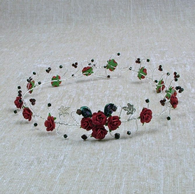 Red rose long hair vine with garnet and black crystals