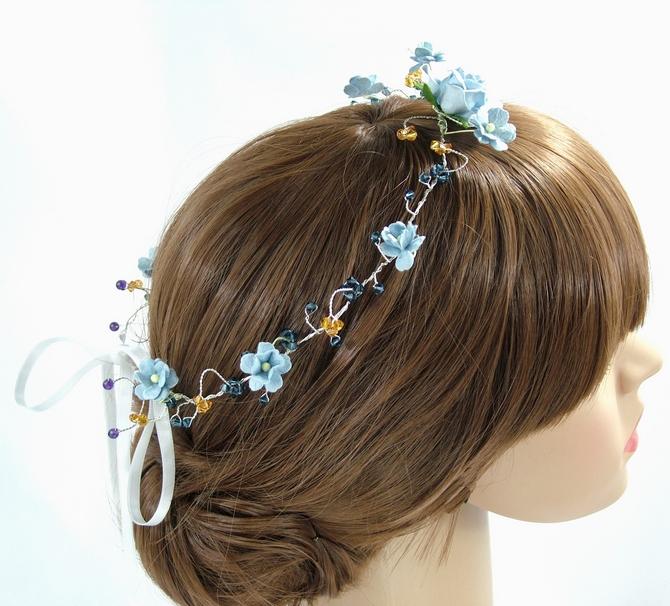 Blue flower bridal headband with topaz Swarovski crystals