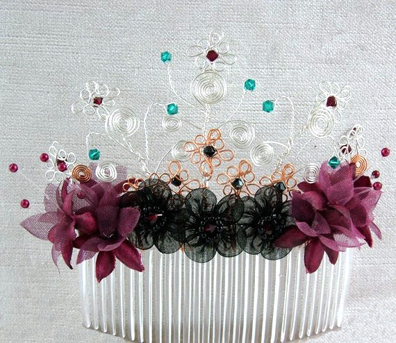 Goth, steampunk wedding bridal hair accessory, decorative hair comb.Silver, gold wire, burgundy & black flowers,red, green, black crystals.