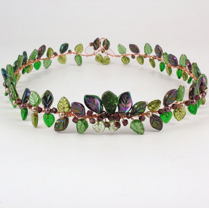 Medieval Woodland wedding bridal circlet with leaves and burgundy crystals