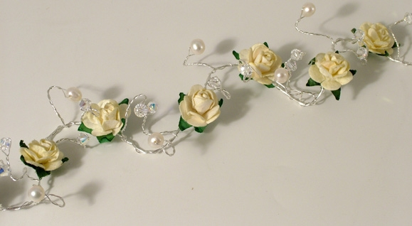 Wedding, bridal or prom hair vine with cream roses on silver wire