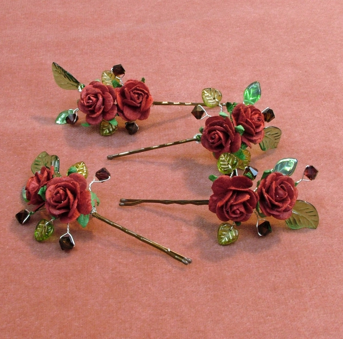 Red rose hair grips with green leaves and burgundy Swarovski crystals