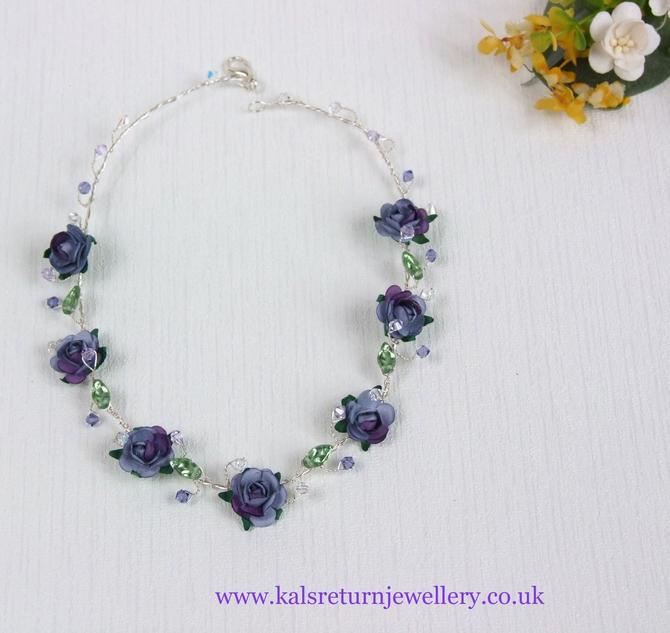 Boho bridal necklace, lilac purple flowers