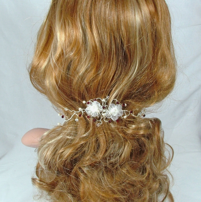 White organza flower hair vine