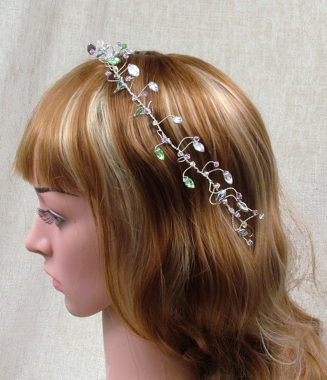 Bridal hair vine with silver leaves and Swarovski crystals