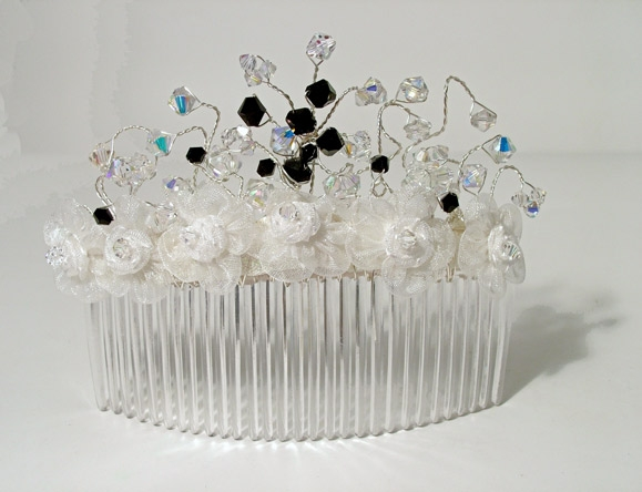Goth or prom hair slide with white organza flowers plus black and sparkly Swarovski crystals