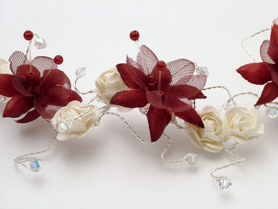 Handmade bridal hair vine for Christmas or winter weddings on silver wire with burgundy silk and feather flowers, ivory roses plus burgundy Swarovski crystals