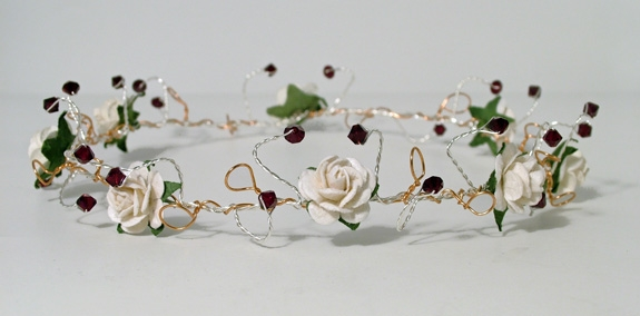 Medieval, woodland wedding ivory rose and garnet crystal bridal headband with gold and silver wire
