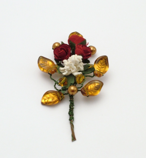 Rose flower corsage / buttonhole for medieval or woodland wedding in red, ivory and topaz,